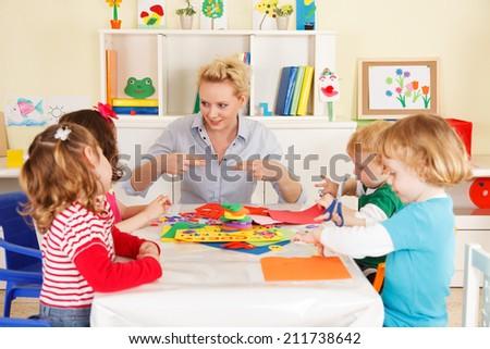 Preschool children in the classroom with the teacher