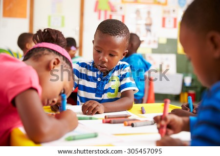 Preschool class in South African township, close-up - stock photo
