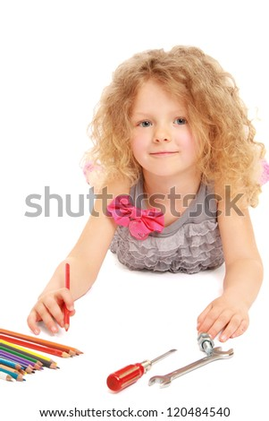 Preschool girl lying on floor isolated on white