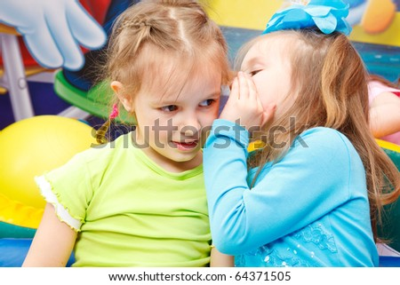 Preschool girls gossiping