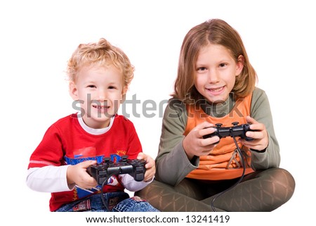 preschooler and schoolgirl playing games, isolated on white background