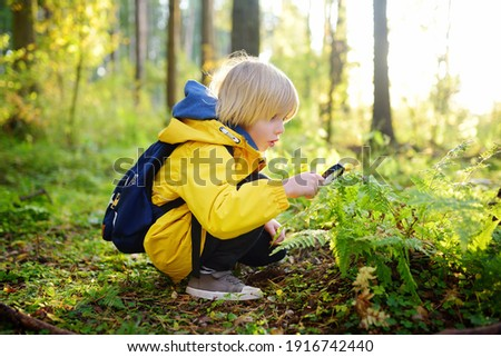 Preschooler boy is exploring nature with magnifying glass. Little child is looking on leaf of fern with magnifier. Summer vacation for inquisitive kids in forest. Hiking. Boy-scout Stock photo ©