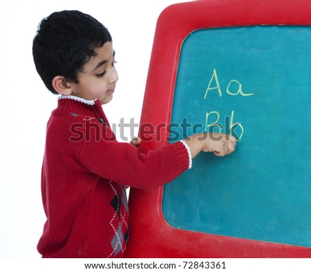 Preschooler Learning to Write Alphabets, Isolated, White