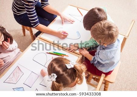 Preschoolers learn letters #593433308