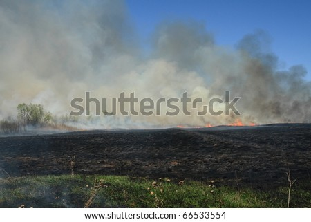 Prescribed prairie burn on the Great Plains in Nebraska