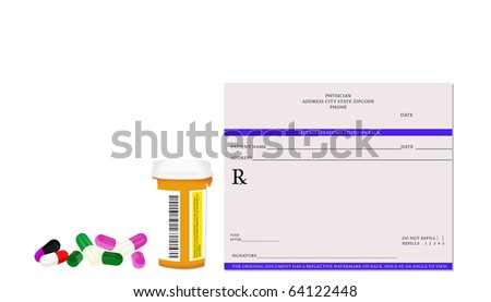 Prescription Bottle Physician Pad Pills Isolated on White Background
