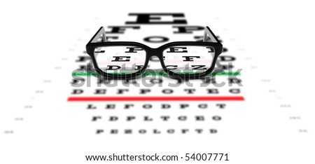 Prescription glasses sitting on an eye test chart
