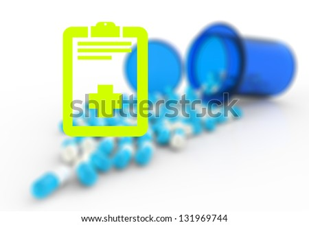 prescription graphic and  medical capsules as medical concept