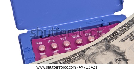 Prescription shown with money to represent cost.  Isolated on white with a clipping path.