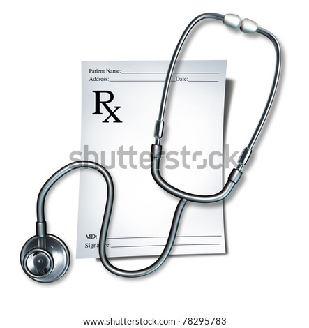 Prescription with stethoscope representing a doctor note for medicine for a pharmacist medical order. - stock photo