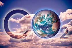 Presence of CO2 in the atmosphere - concept image with an Earth image. - Photo composition with image from NASA.