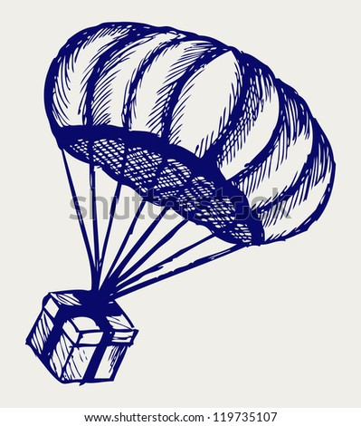 Present and parachute falling from the sky. Doodle style. Raster version