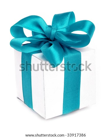 present box close up isolated on white background