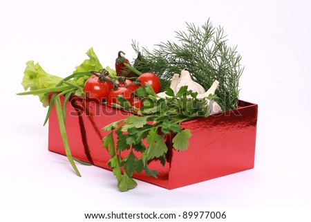 present box full of vegitables