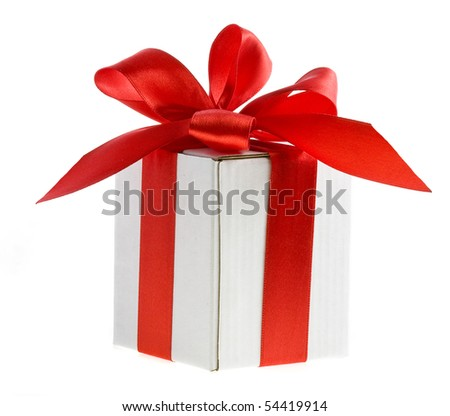 present box with red bow isolated on white