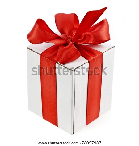 present box with red bow  isolated on white background