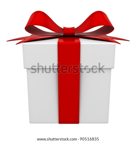 Present box with red ribbon bow isolated on white background