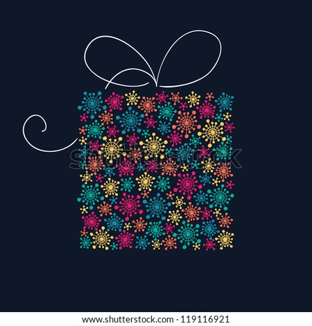 Present box with stylized color snowflakes