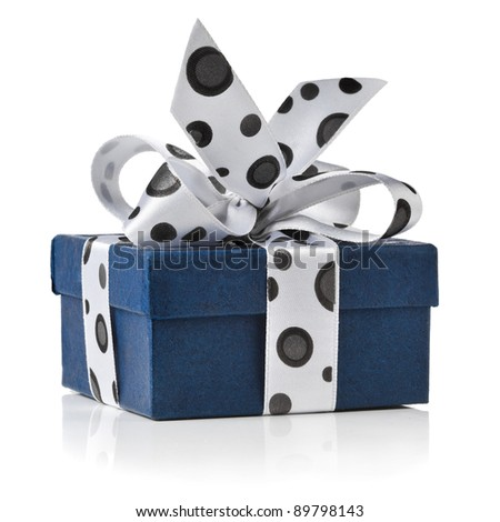 present box wrapped ribbon bow with black spots isolated on white background