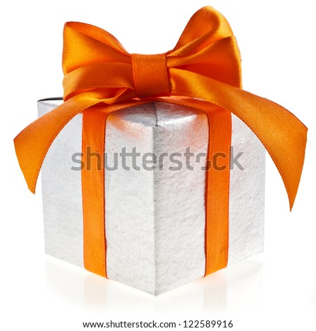 present box wrapping orange ribbon bow isolated on white