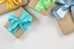 present boxes on white background shot from above, border composition