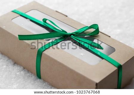 present craft present box on snow ribbon snowflake #1023767068