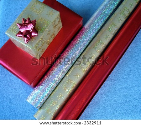 Present / gift boxes and wrapping paper rolls