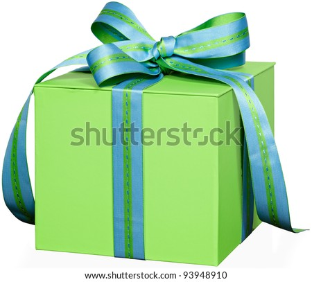 Present In Green Gift Box With Blue & Green Striped & Stitched Ribbon Bow ~ Isolated On White Background ~ Clipping Path Included