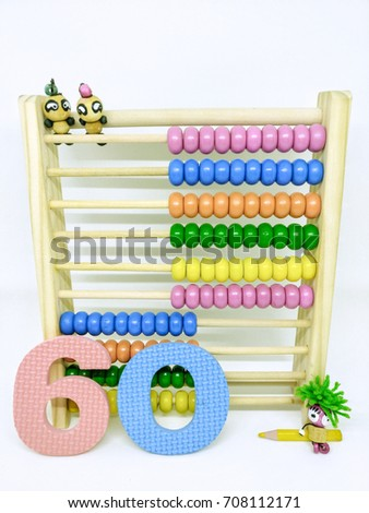 Present numbers eighty from abacus and colorful Arabic number. / Number 60 #708112171