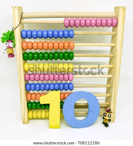 Present numbers eighty from abacus and colorful Arabic number. / Number 10 #708112186