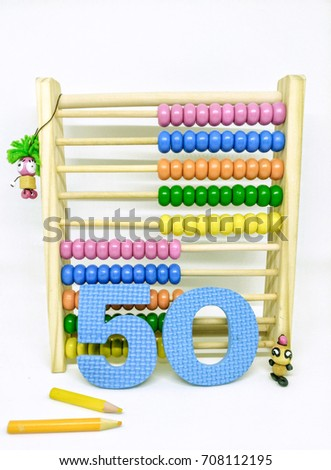 Present numbers eighty from abacus and colorful Arabic number. / Number 50 #708112195