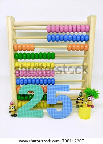 Present numbers eighty from abacus and colorful Arabic number. / Number 25 #708112207