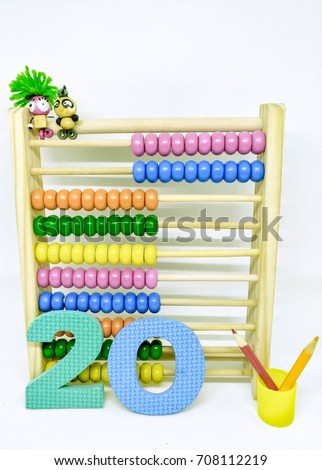 Present numbers eighty from abacus and colorful Arabic number. / Number 20 #708112219