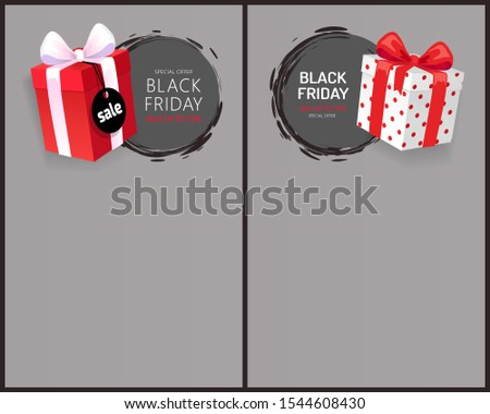 Present package, surprise at shopping on Black Friday. Special adverts, wrapped gift boxes with price tags, November total sale advertisements raster