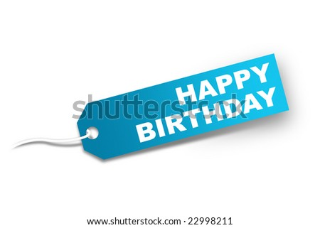 Present tag with words Happy birthday