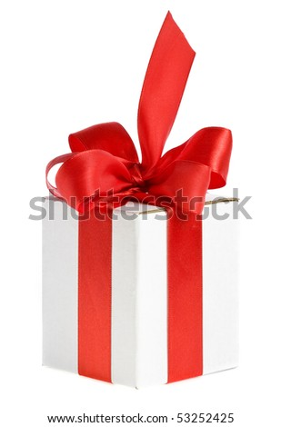 present white box with red ribbon bow
