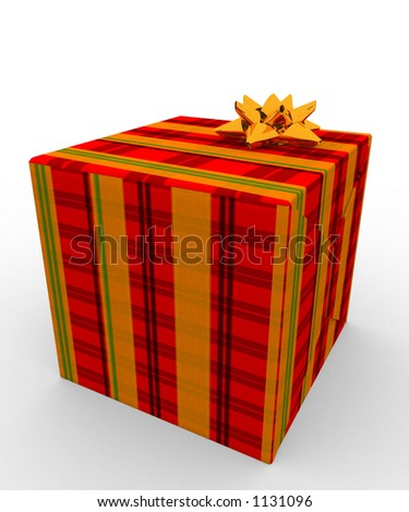 present wrapped in tartan wrapping paper