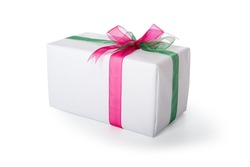 Present wrapped in white paper decorated with red and green ribbon. Isolated, clipping path