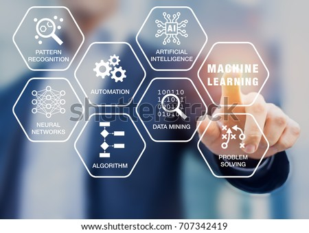 Presentation about machine learning technology with scientist touching screen with robotic process automation, artificial intelligence (AI), neural network, and data mining words and computer icons