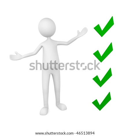 Presentation concept, depicting man pointing to key check points