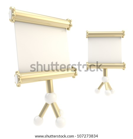 Presentation copyspace stand empty plate, made of gold and white plastic, isolated on white