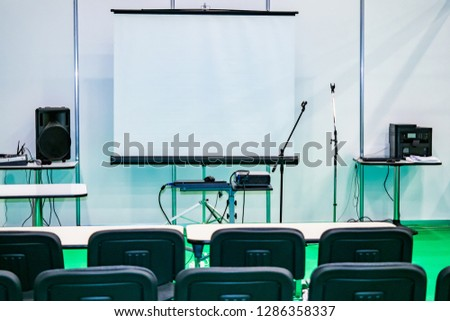 Presentation. Equipment for the presentation. Speech speakers. Student audience. Class. #1286358337