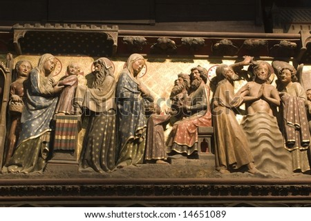 Presentation in the Temple - relief from Notre-Dame cathedral in Paris