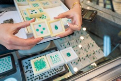 presentation of emeralds in a store, Bogota, Colombia