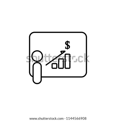 presentation of financial indicators icon. Element of communication icon for mobile concept and web apps. Thin line presentation of financial indicators icon can be used for web