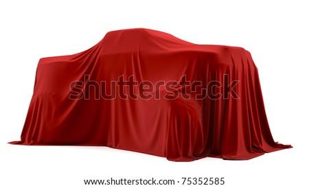 Presentation of the big car. Autoshow. Car under the tissue.