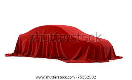 Presentation of the car. Autoshow. Car under the tissue.