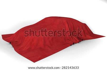 Presentation of the car. Autoshow. Car under the tissue. White backgound