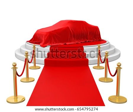Presentation of the New Car on Stage with Barrier Rope. 3D rendering