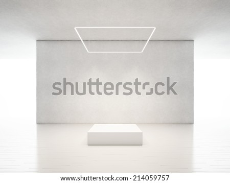 presentation room with white podium